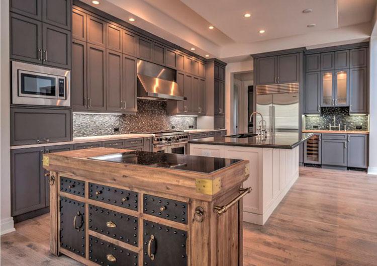 Водостойкий ламинат на кухне в современном стиле